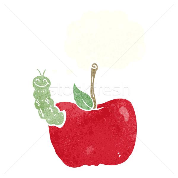 Karikatür elma böcek düşünce balonu el dizayn Stok fotoğraf © lineartestpilot