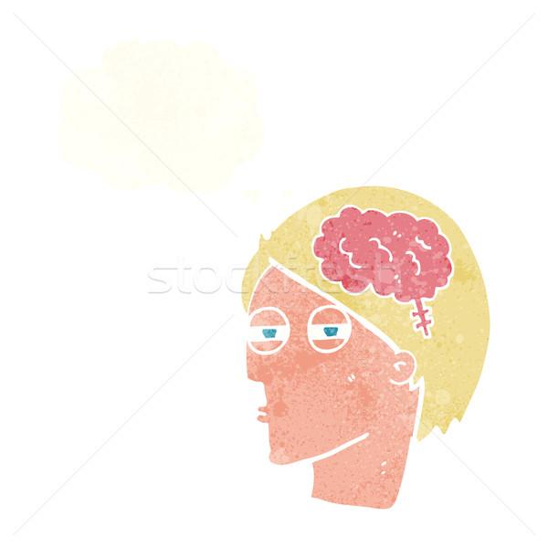 Rajz férfi gondolkodik óvatosan gondolatbuborék kéz Stock fotó © lineartestpilot