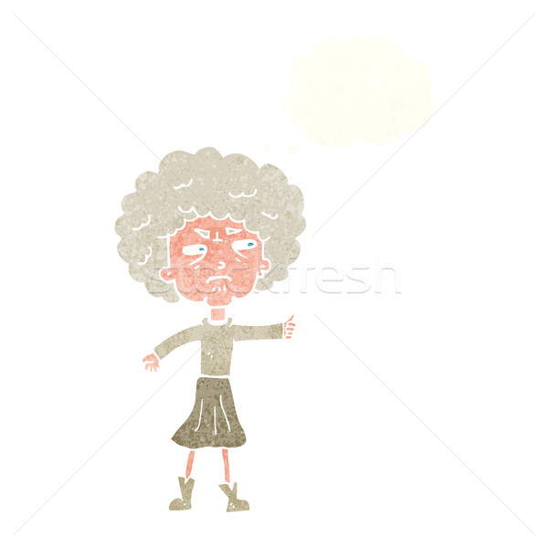 cartoon annoyed old woman with thought bubble Stock photo © lineartestpilot