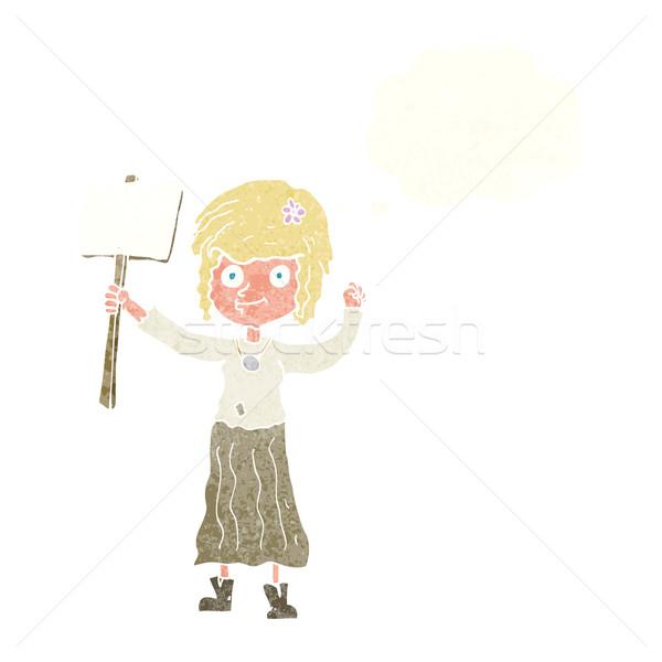 Cartoon hippie meisje protest teken gedachte bel Stockfoto © lineartestpilot