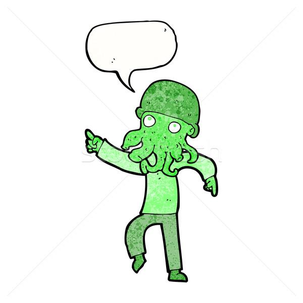 cartoon alien man dancing with speech bubble Stock photo © lineartestpilot