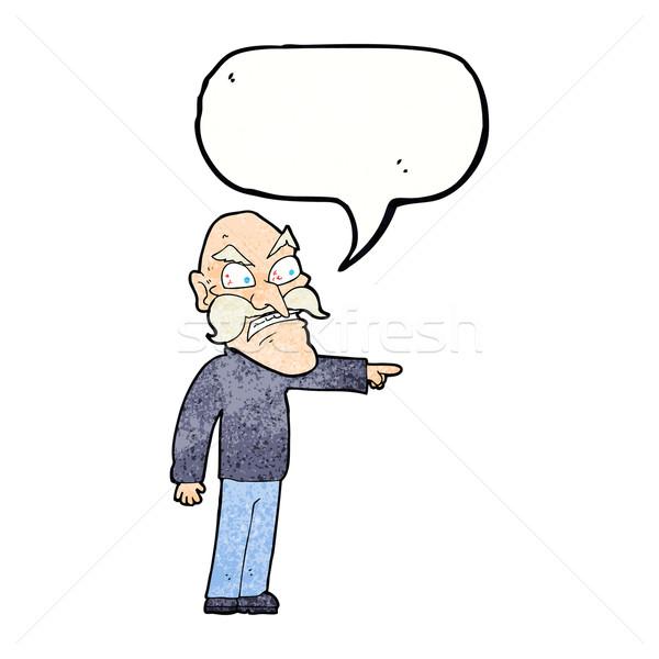 Cartoon rabbioso vecchio fumetto mano uomo Foto d'archivio © lineartestpilot