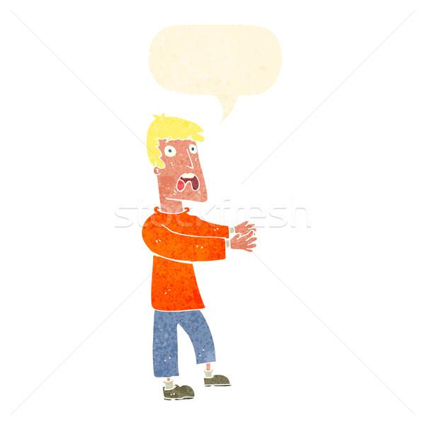 Сток-фото: Cartoon · испуганный · человека · речи · пузырь · стороны · дизайна