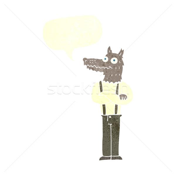 cartoon funny werewolf with speech bubble Stock photo © lineartestpilot