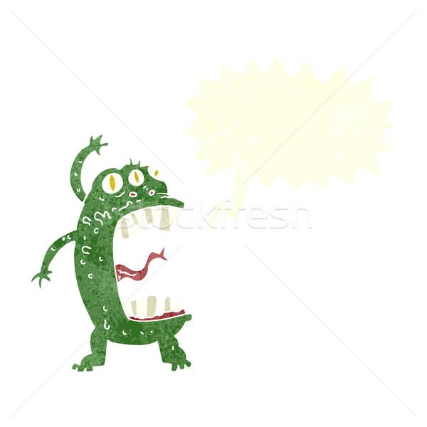 Cartoon Crazy монстр речи пузырь стороны дизайна Сток-фото © lineartestpilot