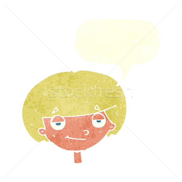 cartoon smug looking boy with speech bubble Stock photo © lineartestpilot