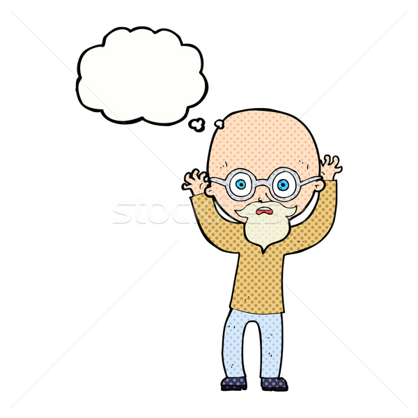 cartoon stressed bald man with thought bubble Stock photo © lineartestpilot