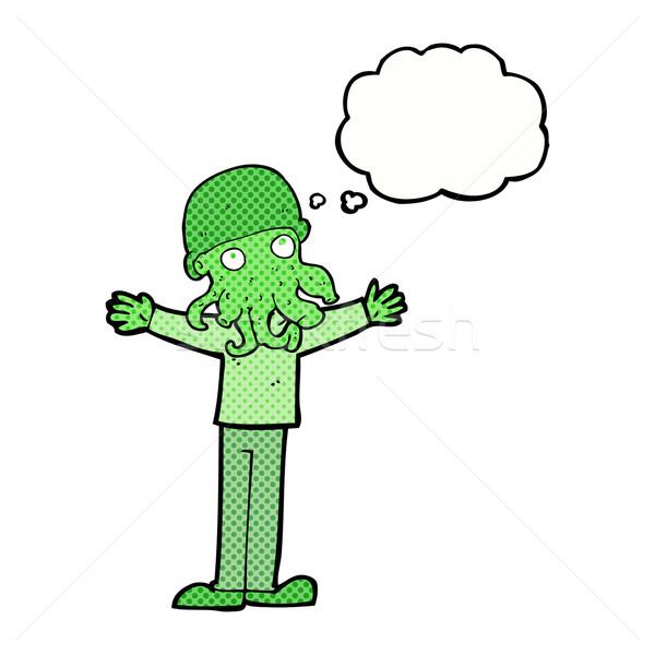 Cartoon vreemdeling inktvis gezicht man gedachte bel Stockfoto © lineartestpilot