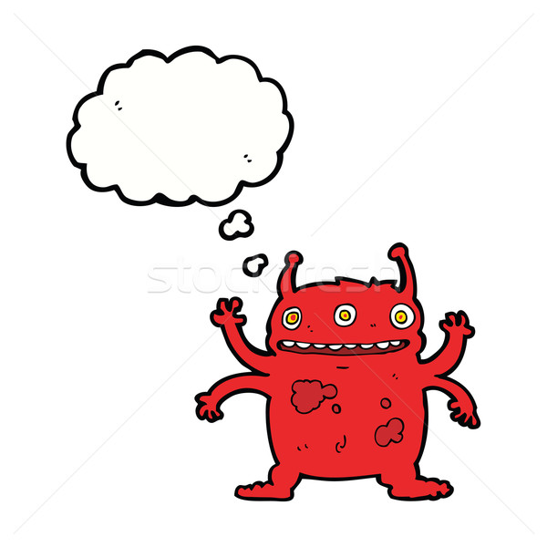 cartoon alien monster with thought bubble Stock photo © lineartestpilot