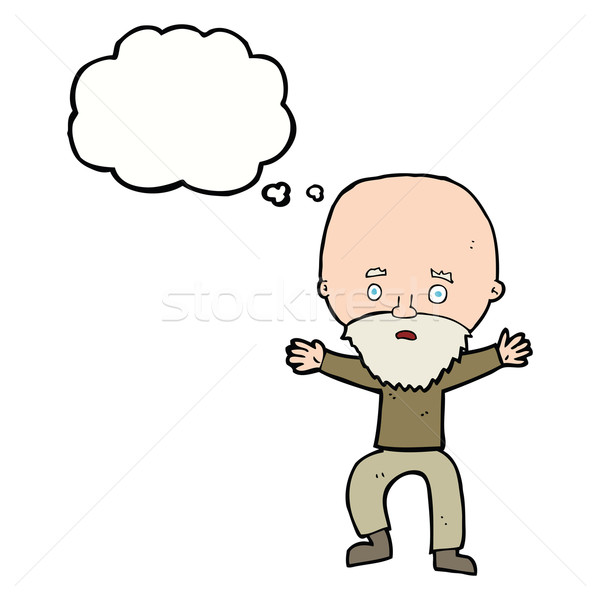 cartoon panicking old man with thought bubble Stock photo © lineartestpilot