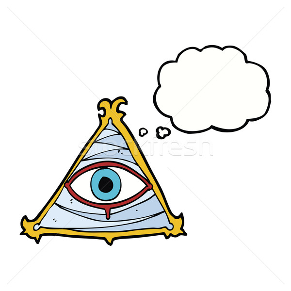 cartoon mystic eye symbol with thought bubble Stock photo © lineartestpilot