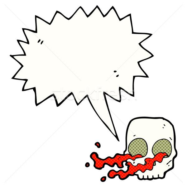 Desen animat craniu bule de vorbire mână proiect artă Imagine de stoc © lineartestpilot