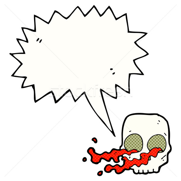 cartoon gross skull with speech bubble Stock photo © lineartestpilot