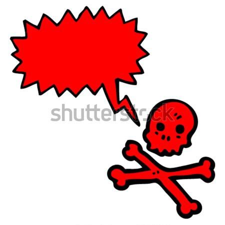 cartoon spooky halloween skull with speech bubble Stock photo © lineartestpilot