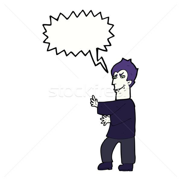 Cartoon vampire bulle main homme design Photo stock © lineartestpilot