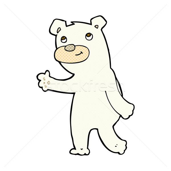 Bonitinho cômico desenho animado urso polar retro Foto stock © lineartestpilot