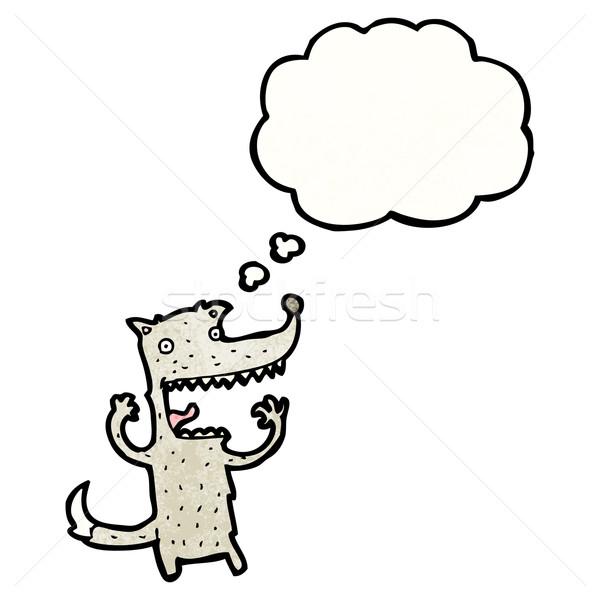 Cartoon волка Crazy Идея текстуры стороны Сток-фото © lineartestpilot