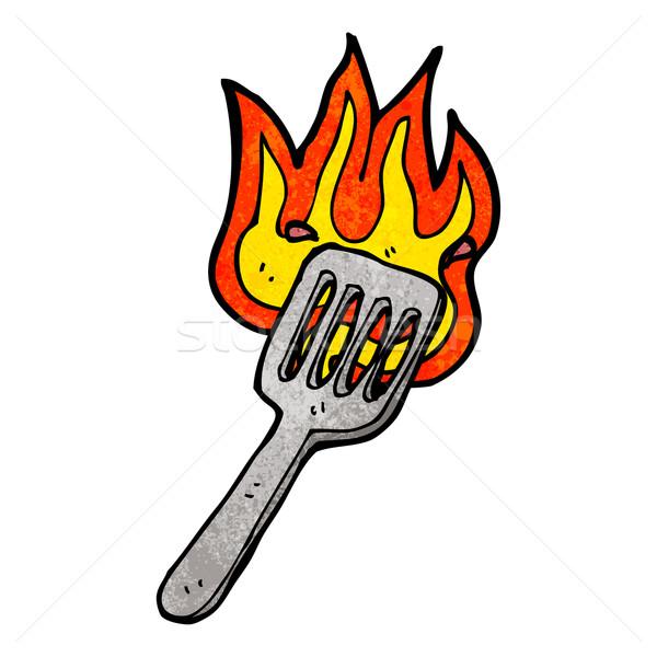 Cartoon brûlant spatule parler rétro dessin Photo stock © lineartestpilot