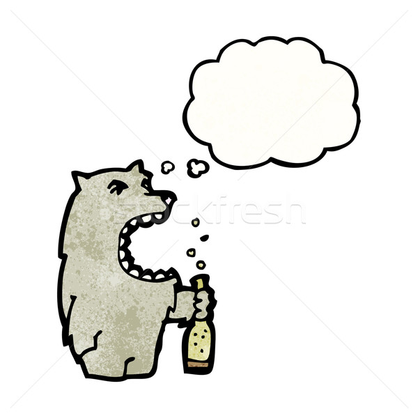 Karikatür kurt konuşma Retro düşünme çizim Stok fotoğraf © lineartestpilot