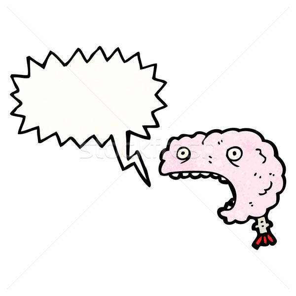 Foto stock: Cérebro · desenho · animado · retro · desenho · bonitinho
