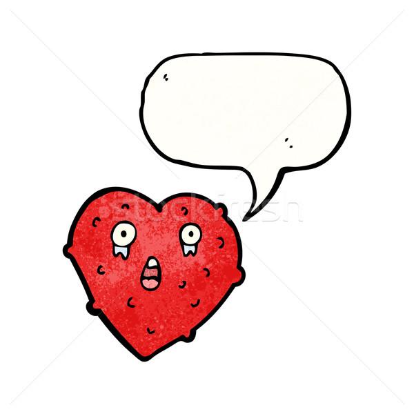 Lelijk hart cartoon kunst teken retro Stockfoto © lineartestpilot