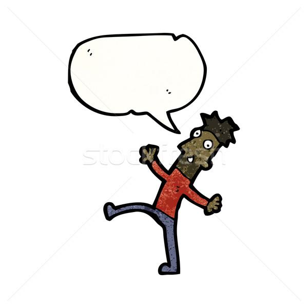 enthusiastic man with speech bubble cartoon Stock photo © lineartestpilot