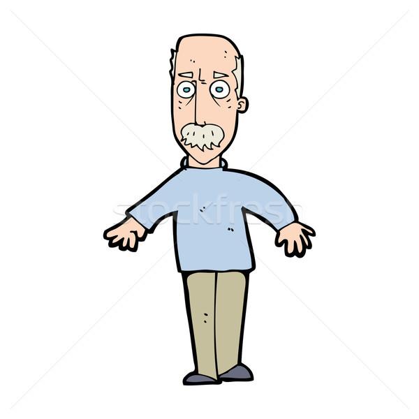 Cartoon infastidito vecchio uomo design arte Foto d'archivio © lineartestpilot