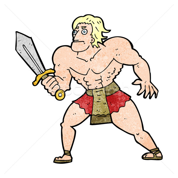 Desenho animado fantasia herói homem mão projeto Foto stock © lineartestpilot