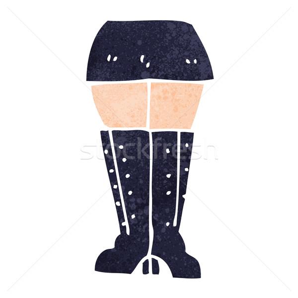 Stok fotoğraf: Karikatür · bacaklar · kız · el · dizayn · çılgın