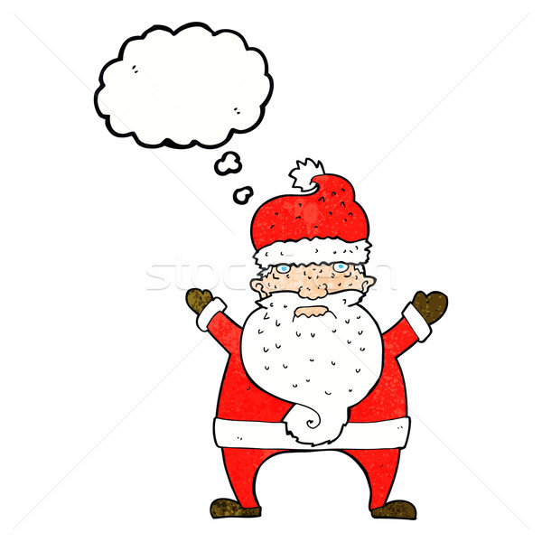 cartoon ugly santa claus with thought bubble Stock photo © lineartestpilot
