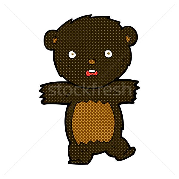Komische cartoon geschokt zwarte beer welp Stockfoto © lineartestpilot
