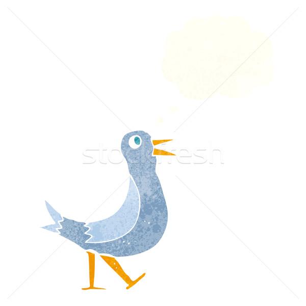 Desenho animado caminhada pássaro balão de pensamento mão projeto Foto stock © lineartestpilot