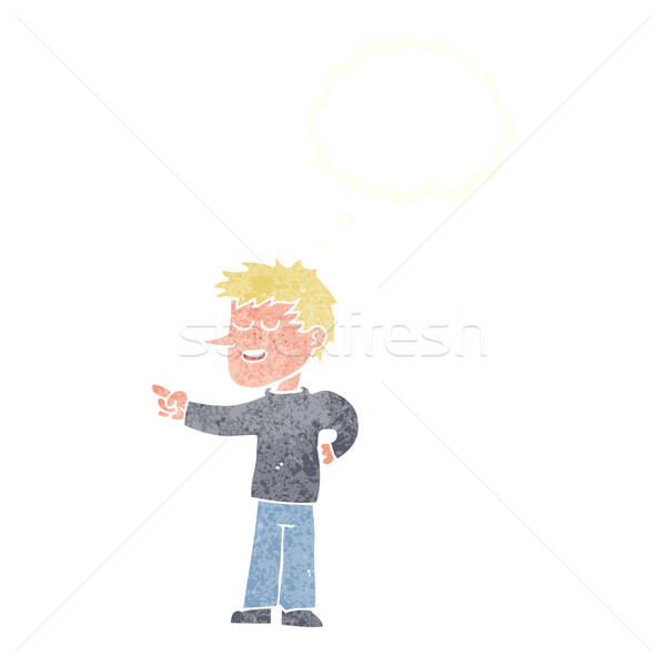 cartoon man pointing with thought bubble Stock photo © lineartestpilot