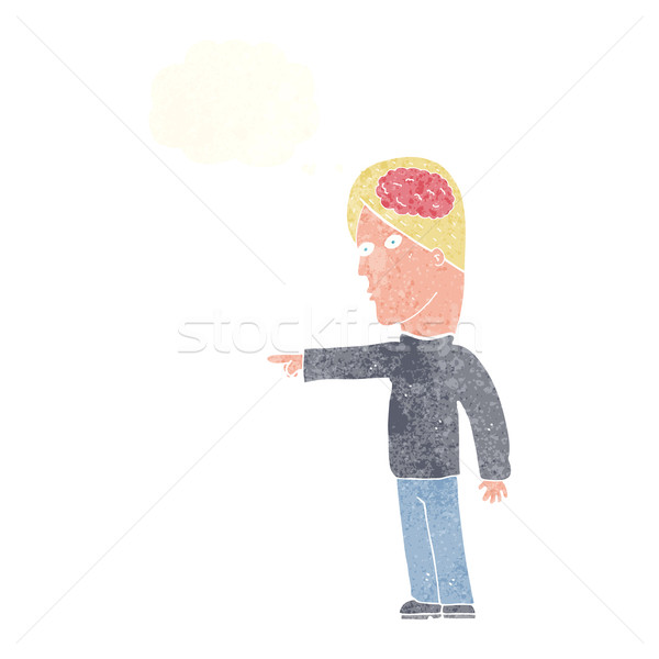 Cartoon astucieux homme pointant bulle de pensée main Photo stock © lineartestpilot