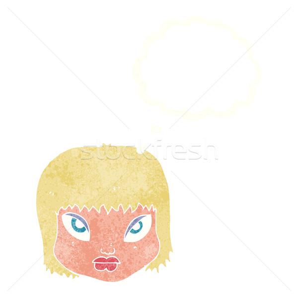 Cartoon agacé visage bulle de pensée main design Photo stock © lineartestpilot