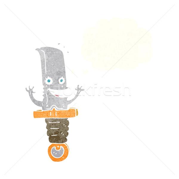 Louco desenho animado faca balão de pensamento mão Foto stock © lineartestpilot