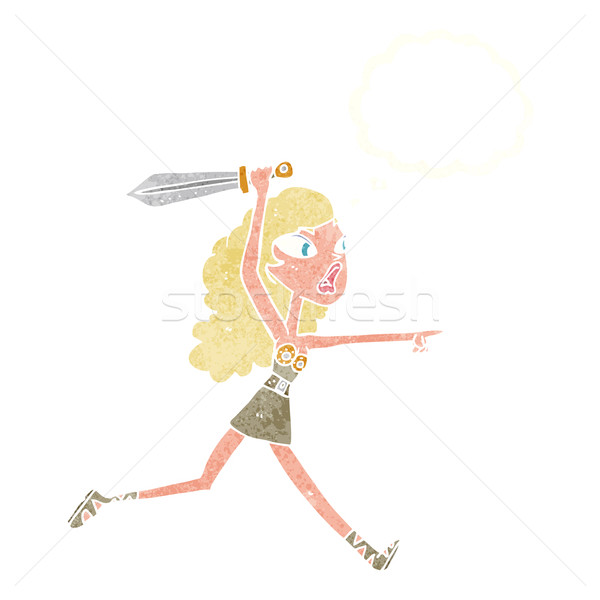 cartoon viking girl with sword with thought bubble Stock photo © lineartestpilot