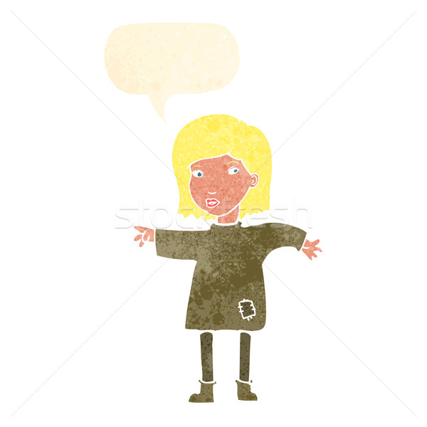 cartoon woman in patched clothing with speech bubble Stock photo © lineartestpilot
