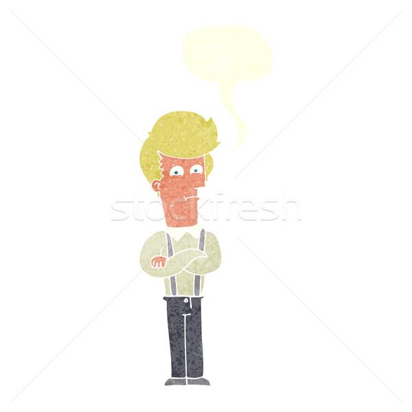 Karikatür rahatsız adam konuşma balonu el dizayn Stok fotoğraf © lineartestpilot
