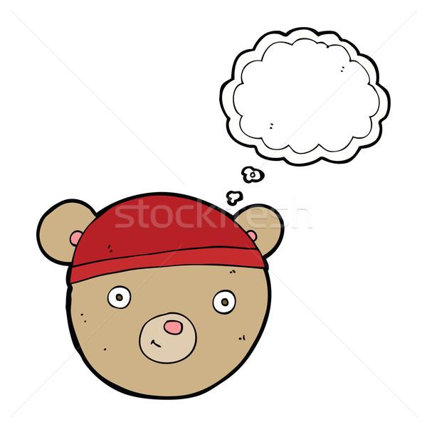 Desenho animado ursinho de pelúcia cabeça balão de pensamento mão projeto Foto stock © lineartestpilot