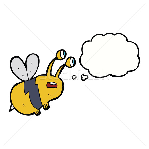Cartoon asustado abeja burbuja de pensamiento mano diseno Foto stock © lineartestpilot