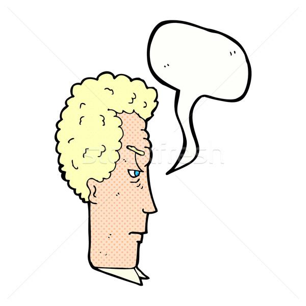 Cartoon agacé homme bulle main visage Photo stock © lineartestpilot