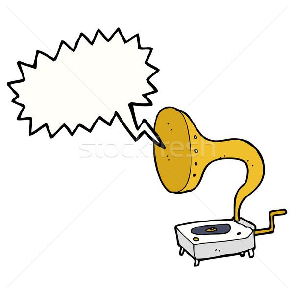 Desenho animado gramofone balão de fala mão projeto arte Foto stock © lineartestpilot