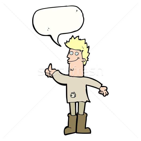 cartoon positive thinking man in rags with speech bubble Stock photo © lineartestpilot
