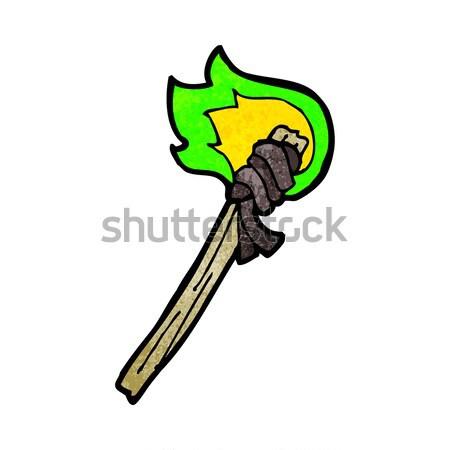 комического Cartoon сжигание факел ретро Сток-фото © lineartestpilot