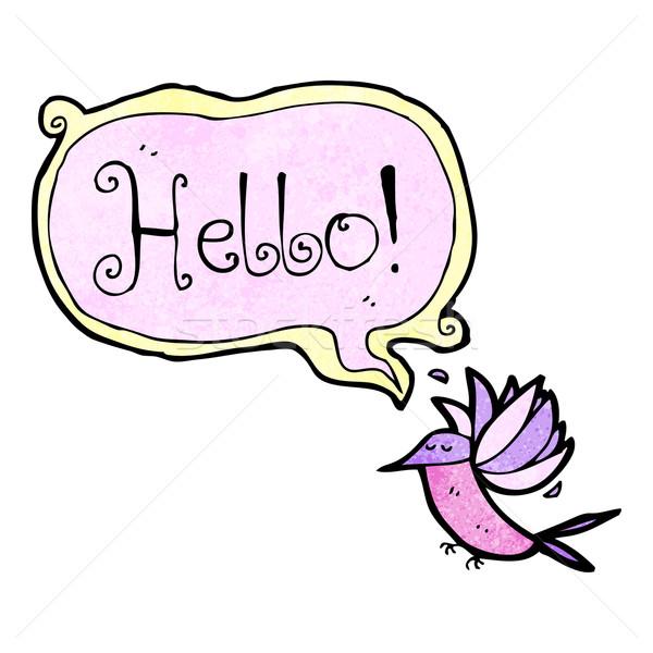 Cartoon hummingbird речи пузырь текстуры стороны счастливым Сток-фото © lineartestpilot