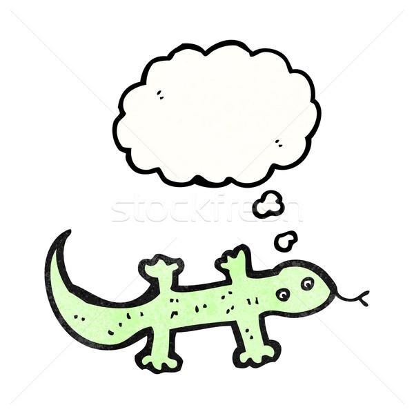 Cartoon jaszczurka bubble myśl sztuki retro rysunek Zdjęcia stock © lineartestpilot