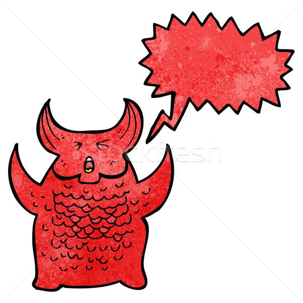 Cartoon demon retro disegno diavolo mostro Foto d'archivio © lineartestpilot