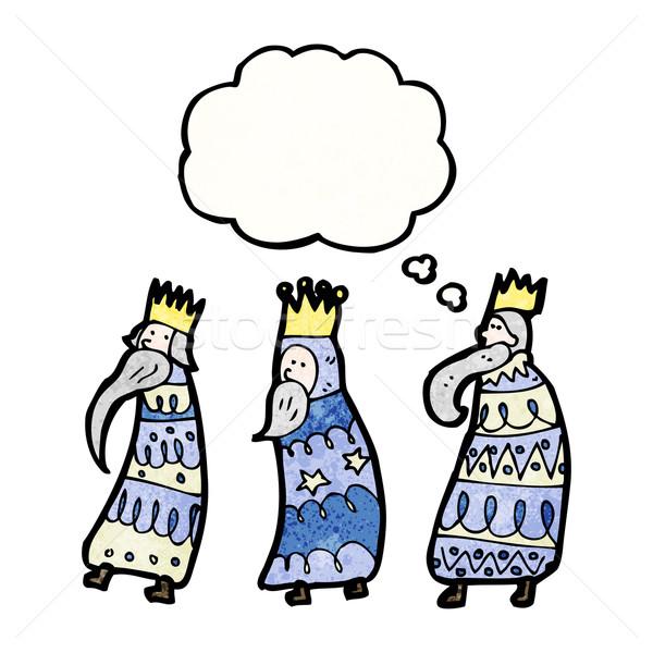 Três reis desenho animado retro textura isolado branco Foto stock © lineartestpilot