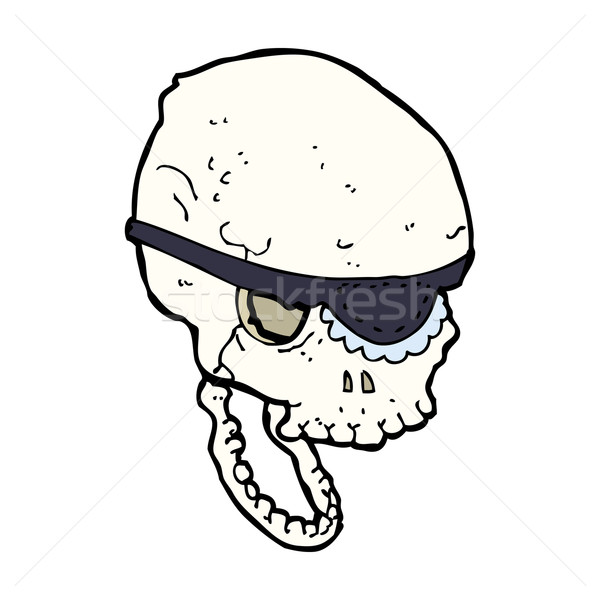 cartoon spooky skull with eye patch Stock photo © lineartestpilot